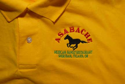 Embroidery on shirts polo s and totes